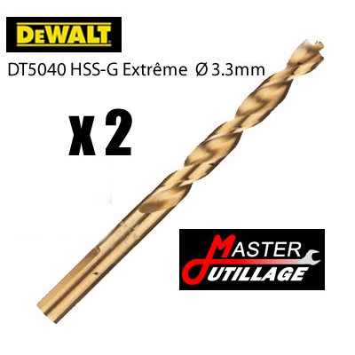 Forets Métal HSS- G (2 pièces) EXTREME Ø3,3mm - L:65mm DEWALT - DT5040