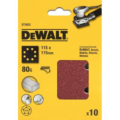 25 feuilles abrasives 1/4 pour ponceuses vibrantes - 115 x 115 mm - grain 120 - DEWALT | DT3033