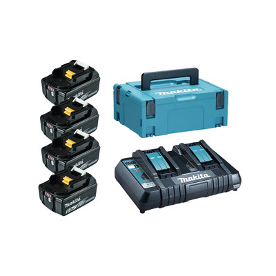 Pack Énergie 18 Volts Li-Ion 4 batteries 6Ah BL1860B + 1 chargeur double DC18RD avec coffret MAK-PAC Makita   198091-4