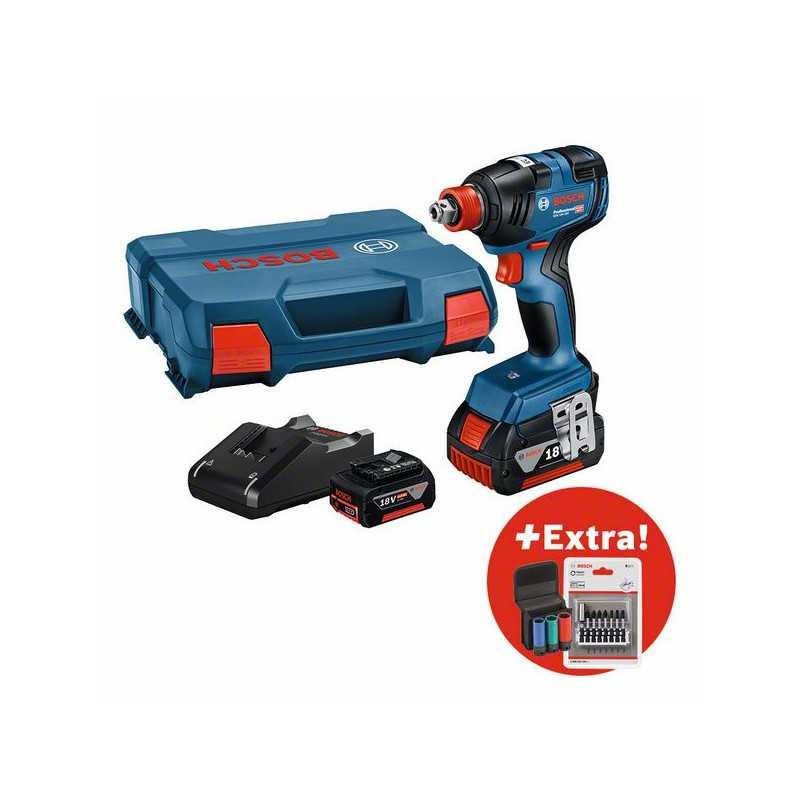 Visseuse à chocs/boulonneuse sans fil GDX 18V-200 + 2 x GBA 18V 4,0Ah + GAL 18V-40 + AC Set BOSCH | 0615990M38
